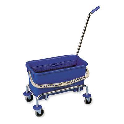 Herramienta-escurridor-recipiente-azul-con-ruedas-y-mango